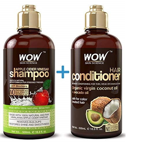 WOW Apple Cider Vinegar Shampoo & Hair Conditioner Set - (2 x 16.9 Fl Oz / 500mL) - Increase Gloss, Hydration, Shine - Reduce Itchy Scalp, Dandruff & Frizz