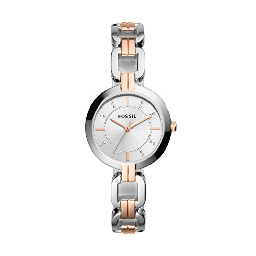 Fossil Women's Kerrigan Quartz Two-Tone Stainless Steel Dress Watch, Color: Silver, Rose Gold (Model: BQ3341)