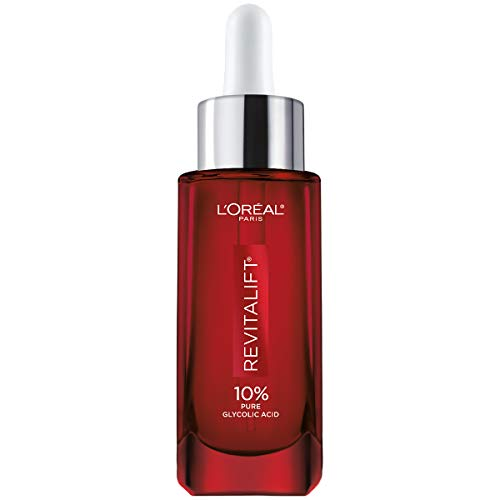 Glycolic Acid Peel Serum for Skin, L'Oreal Paris Revitalift Derm Intensives 10% Pure Glycolic Acid Serum | Dark Spot Corrector, Even Tone, Reduce Wrinkles,, 1 Oz