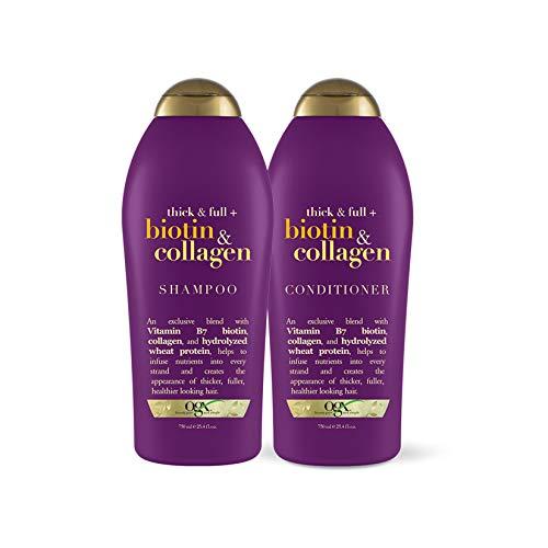 史低价!OGX Thick & Full Biotin & Collagen 维生素 胶原蛋白 洗发水 +护发 套装, 25.4 oz/瓶