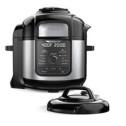 Ninja FD401 Foodi 8-qt. 9-in-1 Deluxe XL Cooker & Air Fryer-Stainless Steel Pressure Cooker, 8-Quart
