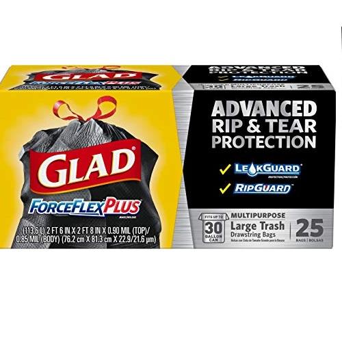 Glad ForceFlexPlus Black Large Drawstring Trash Bags, 30 Gal, 25 Ct (Package May Vary)