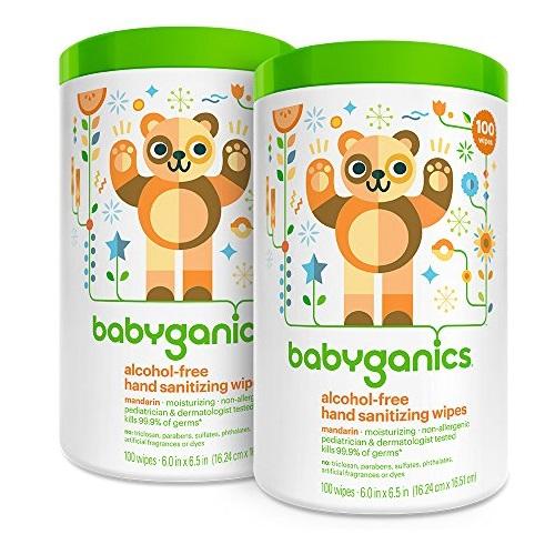 BabyGanics 甘尼克宝宝 天然免水洗 消毒擦手湿巾,200片
