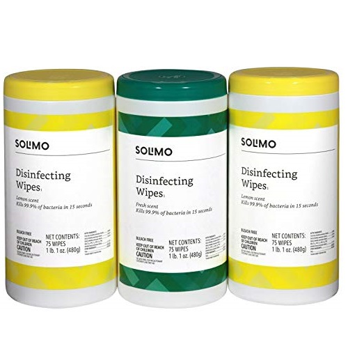 Amazon Brand - Solimo Disinfecting Wipes, Lemon Scent & Fresh Scent, Sanitizes/Cleans/Disinfects/Deodorizes, 75 Wipes Each (Pack of 3)