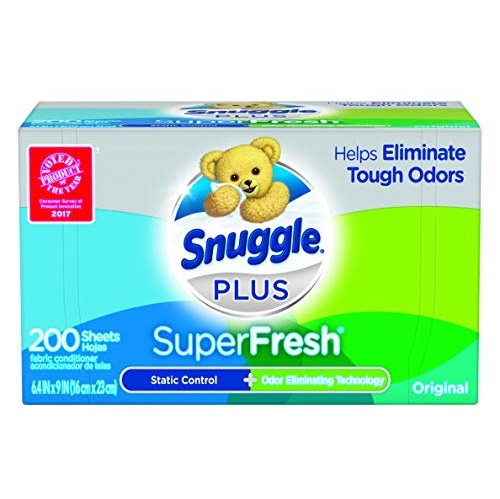 Snuggle Plus SuperFresh Fabric Softener Dryer Sheets with Static Control and Odor Eliminating Technology, Original, 200 Count