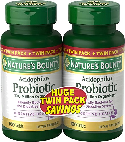 Nature's Bounty Probiotics Dietary Supplement, Supports Digestive and Intestinal Health, Probiotic Acidophilus, 100 Tablets, 2 Pack