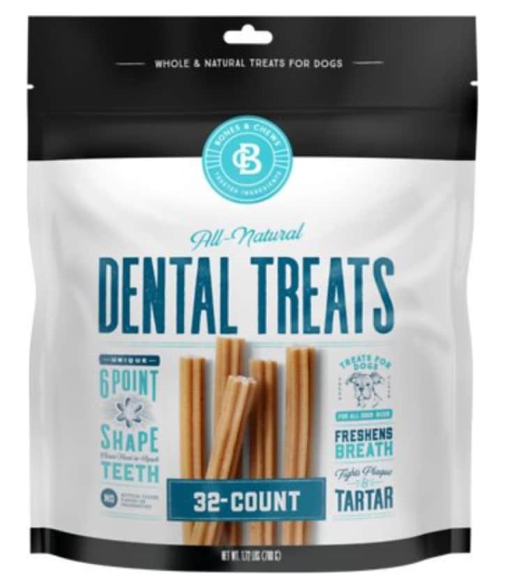 Bones & Chews All-Natural Dental Chew Sticks 32-Count Bag
