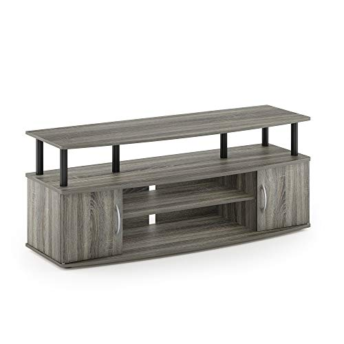 Furinno JAYA Large Entertainment Stand for TV Up to 50 Inch, French Oak Grey/Black