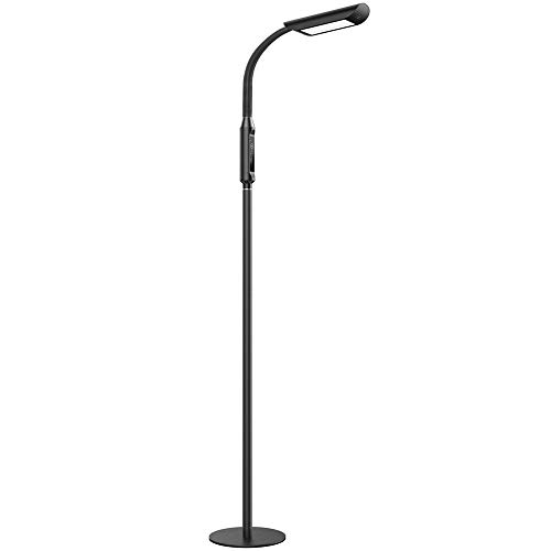 TaoTronics LED Floor Lamp 1815 Lux & 50,000 Hours Lifespan, Dimmable Standing Floor Lamp Flexible Gooseneck Touch Control Panel for Living Room, UL Adapter