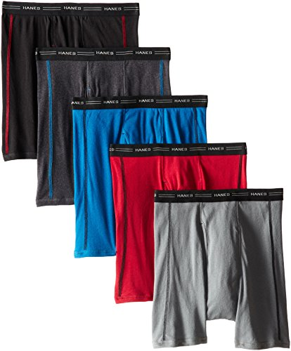 Hanes Men's 5-Pack Sports-Inspired Cool Dri Boxer Brief