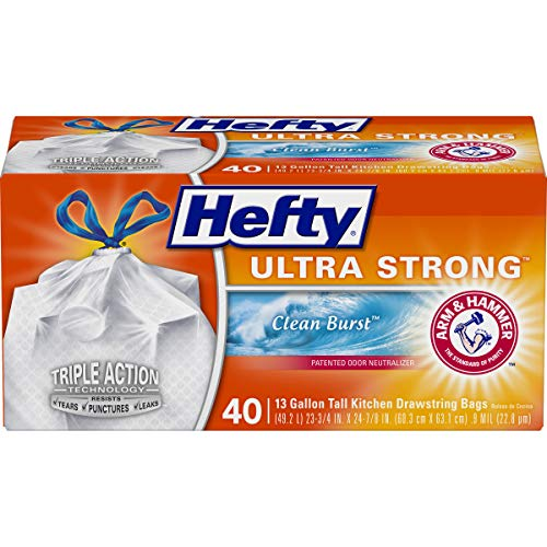 Hefty Ultra Strong Tall Kitchen Trash Bags, Clean Burst Scent, 13 Gallon, 40 Count