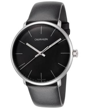 Calvin Klein Men's High Noon Watch w/ Leather Strap (Black or Silver Dial)