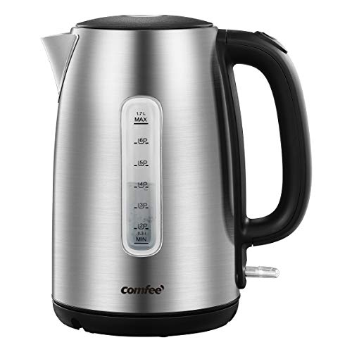 COMFEE' Stainless Steel Cordless Electric Kettle. 1500W Fast Boil with LED Light, Auto Shut-Off and Boil-Dry Protection. 1.7 Liter
