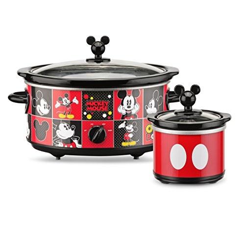 Disney迪斯尼 米奇5夸脱慢炖锅,带20盎司迷你酱料碗