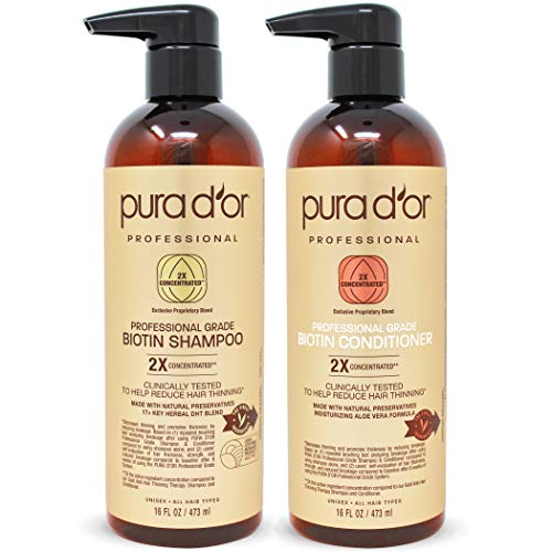 PURA D'OR Professional Grade Anti-Hair Thinning 2X Concentrated Actives Biotin Shampoo & Conditioner (16oz x 2), No Sulfates, Clinically Tested, All Hair Types, Men & Women