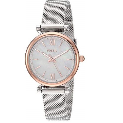Fossil Women's Quartz Watch with Stainless-Steel Strap, Silver, 12 (Model: ES4614)