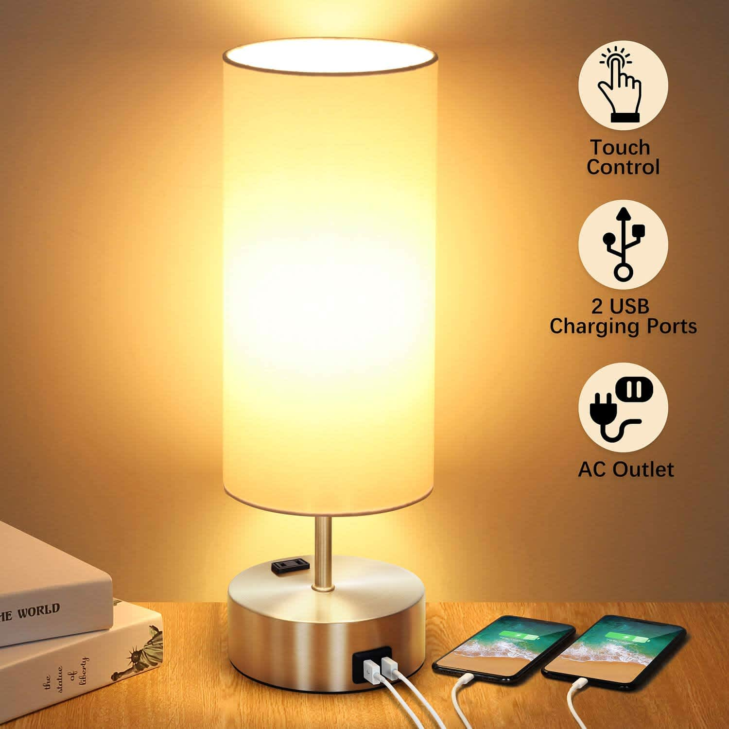 Shine Hai 3-Way Touch Control Dimmable Table Lamp