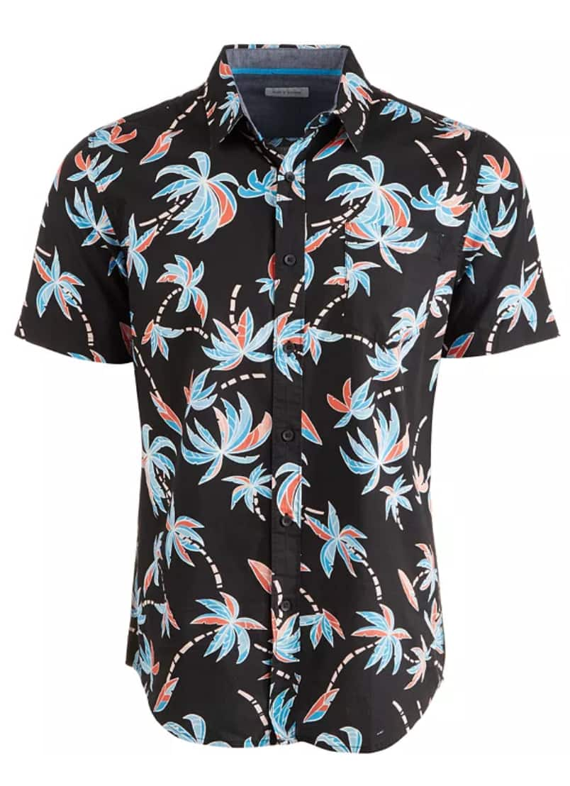 Sun and Stone Men's Linen Shirt or Tropical Print Camp Shirt