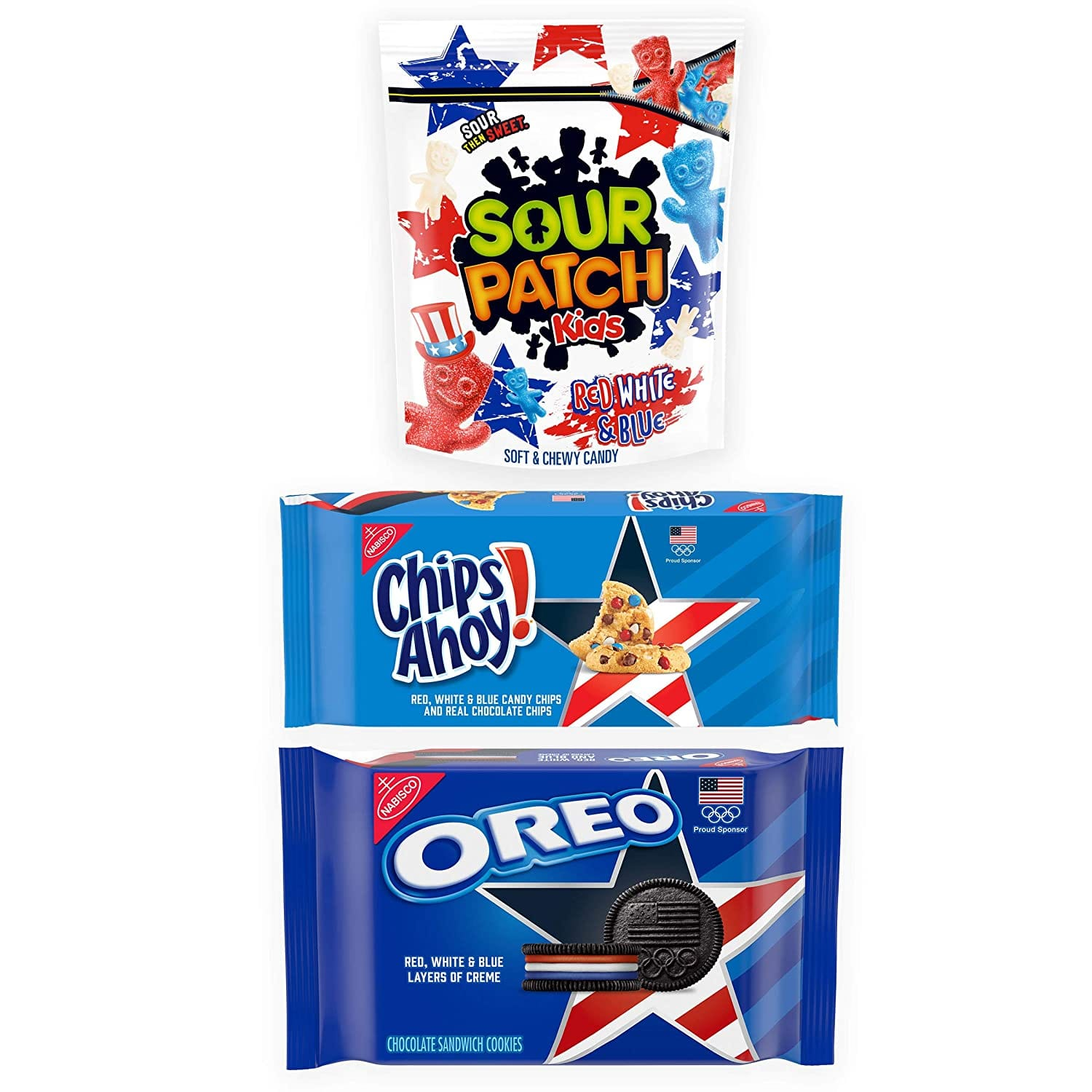 3-Pack Team USA Oreo, Chips Ahoy!, & Sour Patch Kids Variety Pack