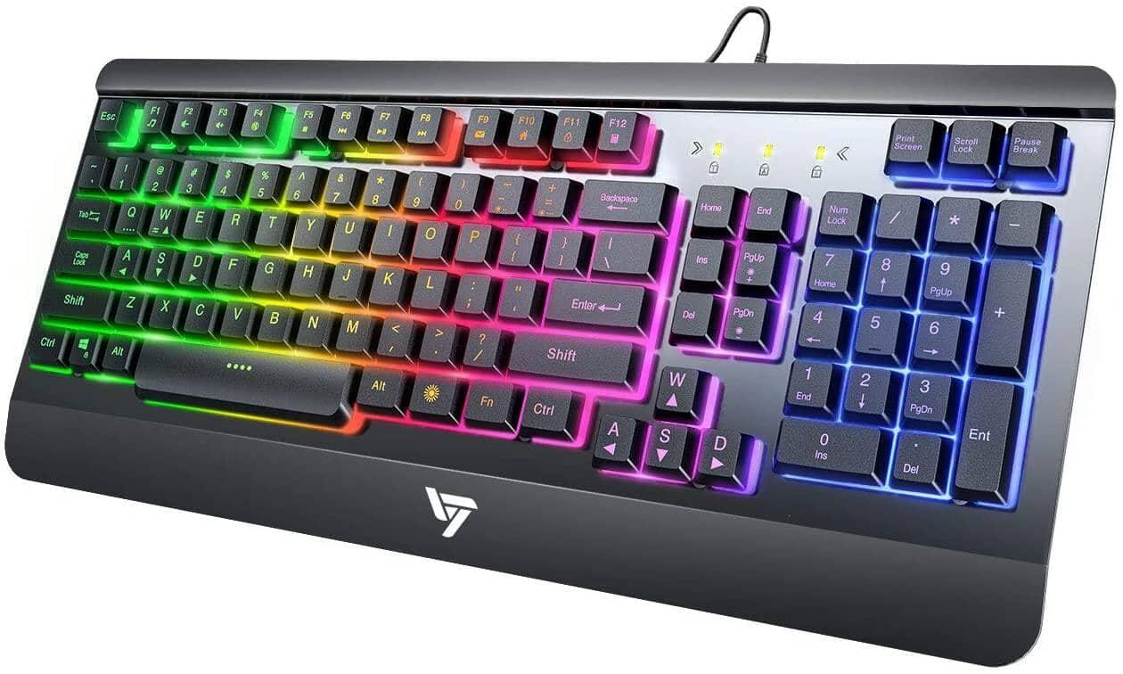 VictSing Rainbow LED Backlit Wired Gaming Keyboard w/ Ergonomic Wrist Rest