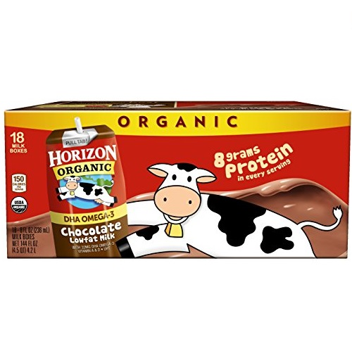 Horizon Organic, Lowfat Organic Milk Box With DHA Omega-3, Chocolate, 8 Fl. Oz (Pack of 18), Single Serve, Shelf Stable Organic Chocolate Flavored Lowfat Milk