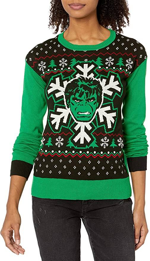 Ugly Christmas Sweaters: Women's Marvel Hulk (Green, X-Large)
