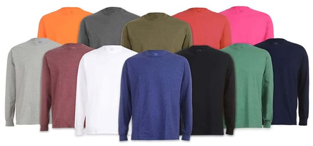 Fruit of the Loom Men's Long Sleeve T-Shirts 6-Pack