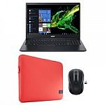"HP 15.6"" Touchscreen Laptop (Pentium Gold 4417U, 500GB HDD, 4G 15-bs144wm) + Laptop Case & Wireless Mouse"
