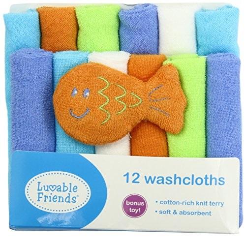 Luvable Friends 婴儿洗澡小方巾/口水巾 12条装