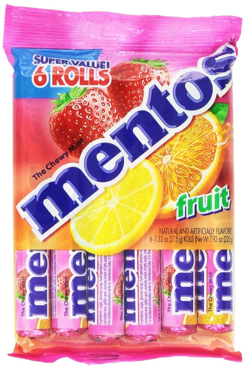 6-Pack Mentos Chewy Mint Candy Roll (Fruit)
