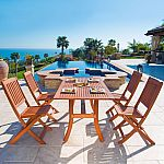 Malibu Outdoor 5-piece Wood Patio Curvy Legs Table Dining Set