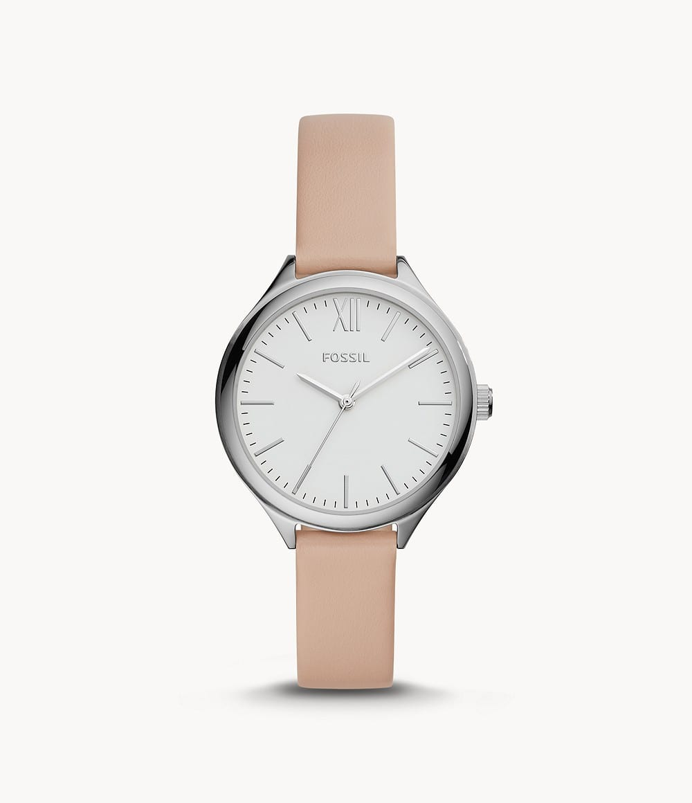 Fossil Up to 70% Off Sale: Women's Suitor Three-Hand Pink Leather Watch
