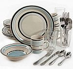 Gibson Home 32-Piece Cannon Blue Dinnerware Combo Set