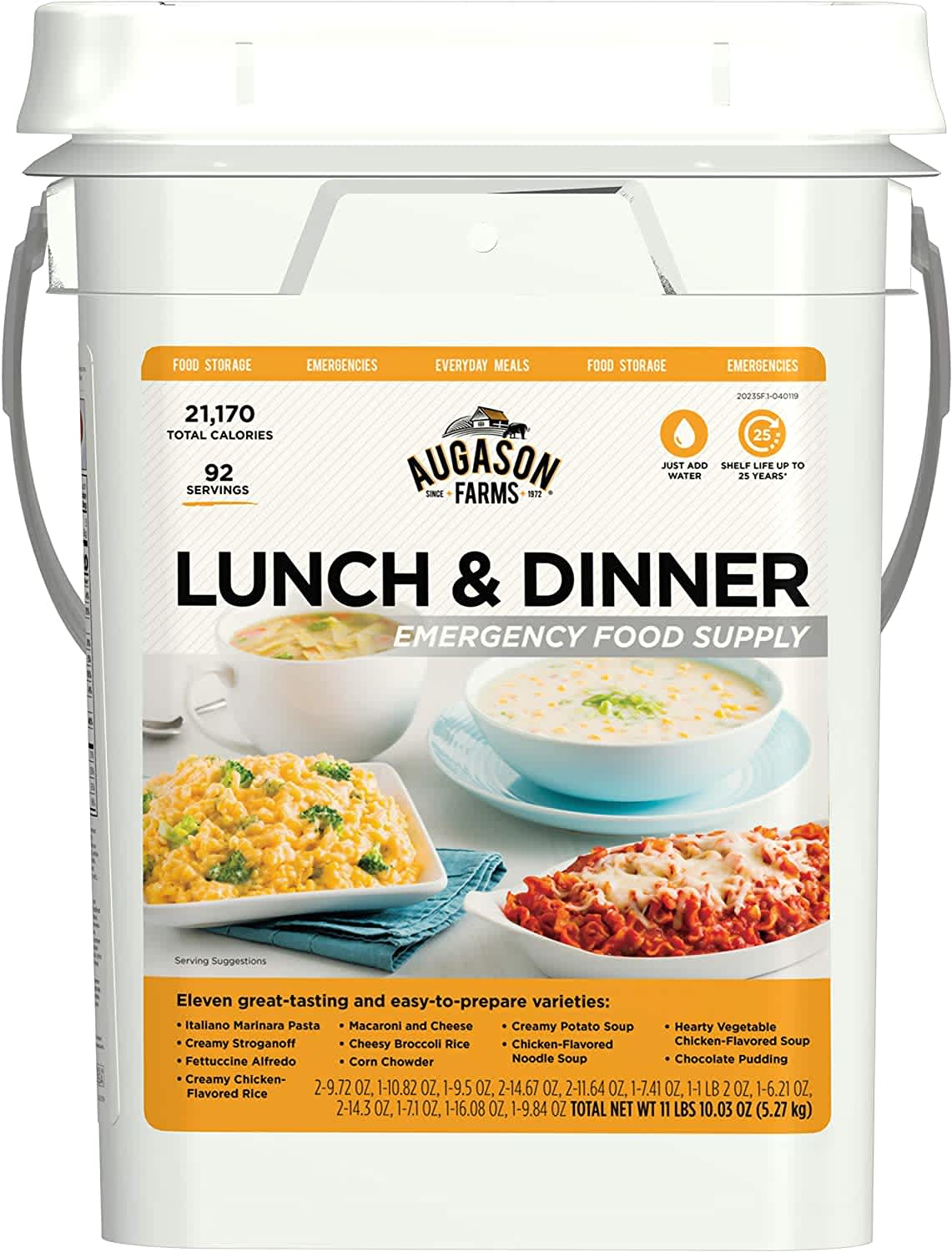 Augason Farms Lunch & Dinner Emergency Food Supply 4-Gal. Pail