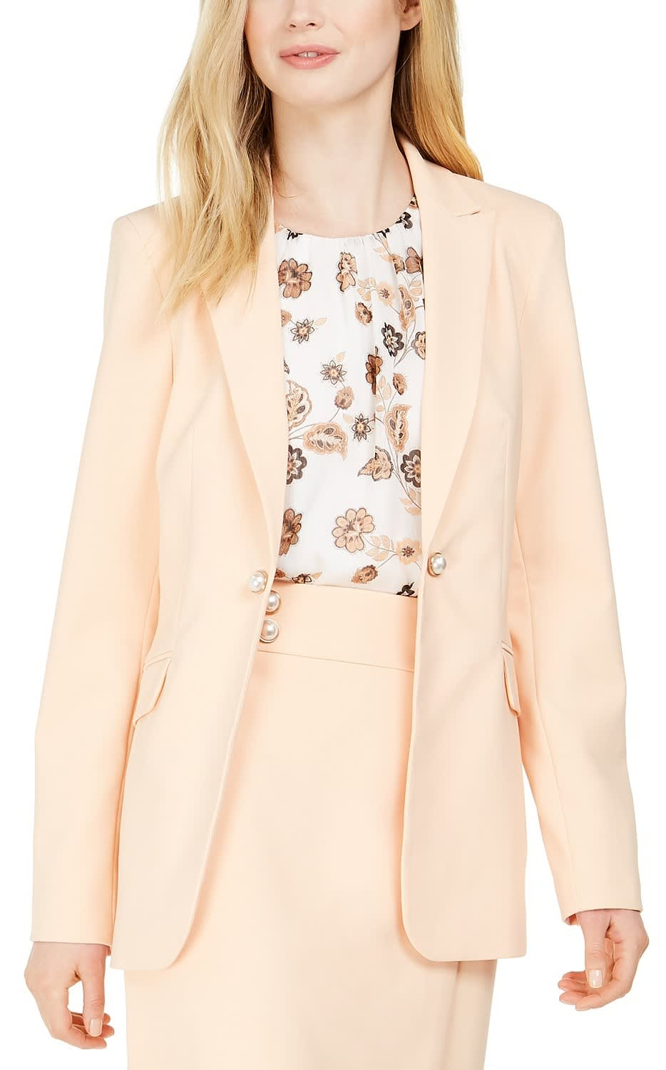 Calvin Klein Women's Petite One-Button Jacket