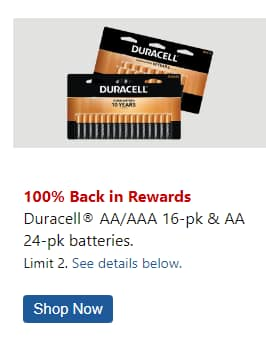 100% back in OD Rewards on Duracell AA (16 or 24 pack) and AAA (16 pack)