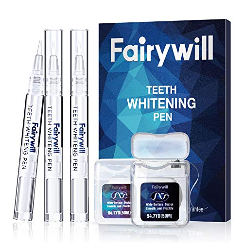 Fairywill Teeth Whitening Pen, 3 Pcs, 35 Percent Carbamide Peroxide for Sensitive Teeth, Enamel Safe,with 2 packs Dental Floss, discounted price