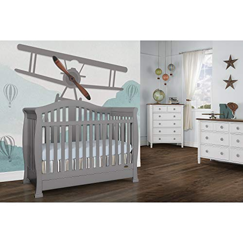 Dream on Me Addison 5-in-1 Convertible Crib, Storm Grey, Full Size