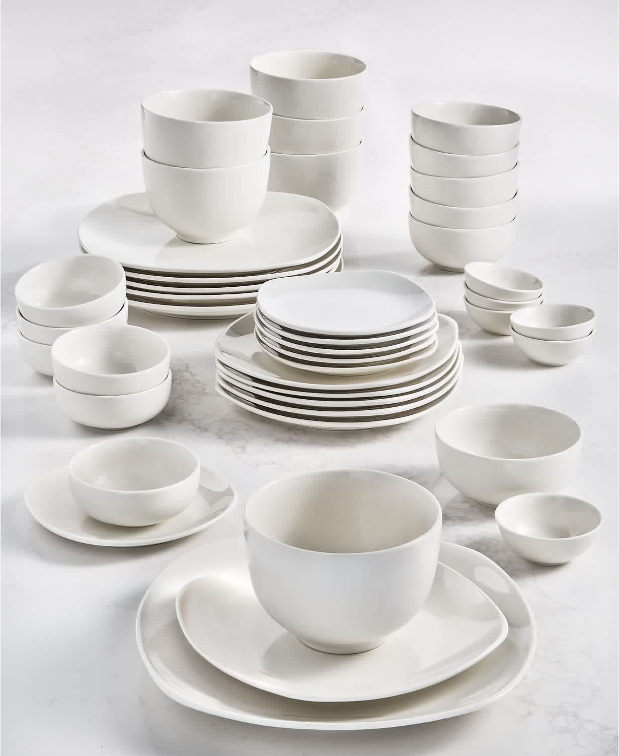 Tabletops Unlimited Inspiration by Denmark Soft Square 42-Piece Dinnerware Set