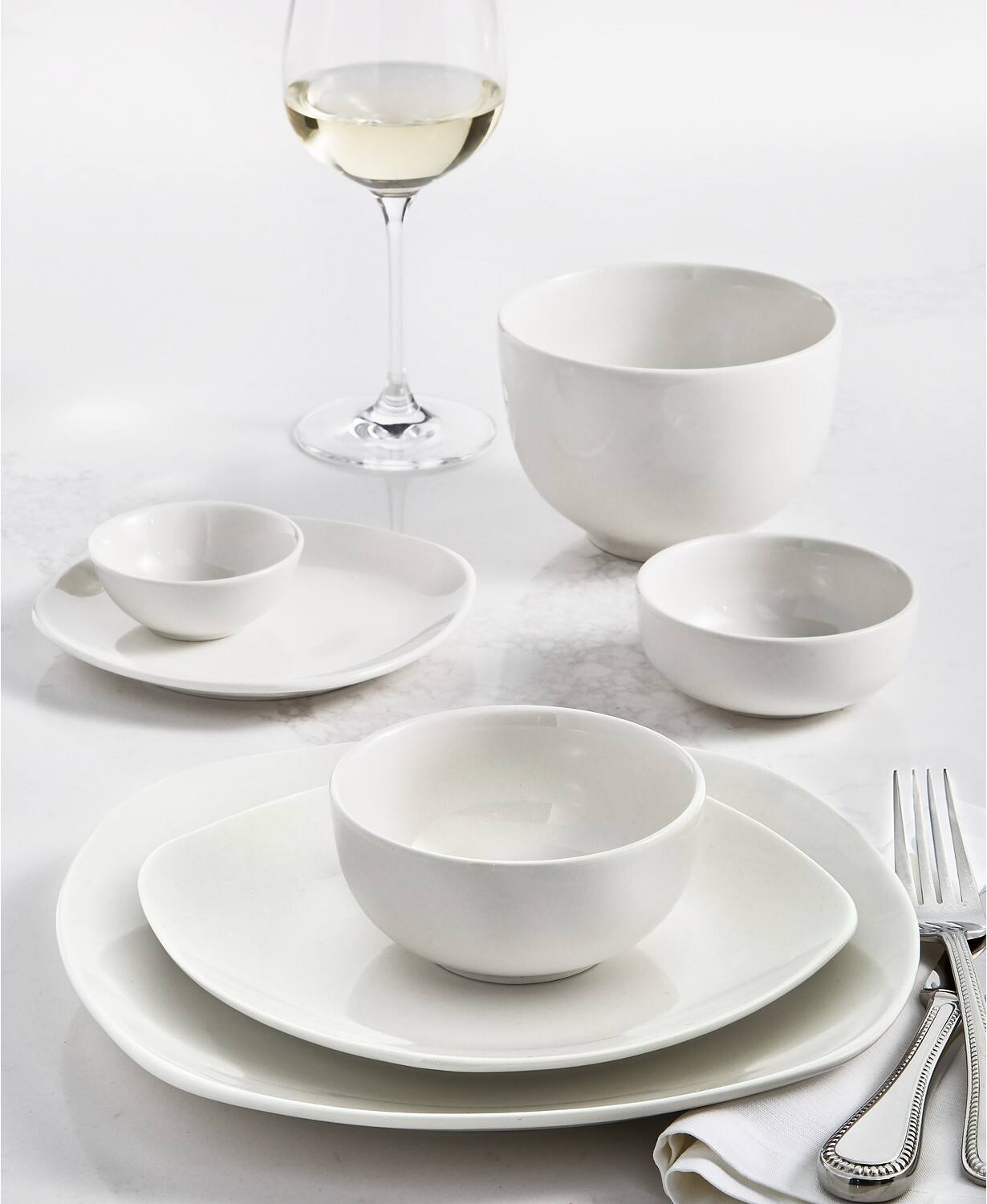 42-Piece Tabletops Unlimited Whiteware Dinnerware Set (Service for 6, 3-Styles)