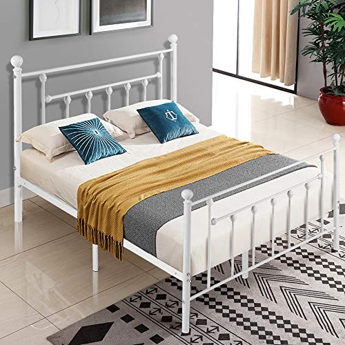 VECELO Queen Size Bed Frame, Metal Platform Mattress Foundation/Box Spring Replacement with Headboard Victorian Style, White