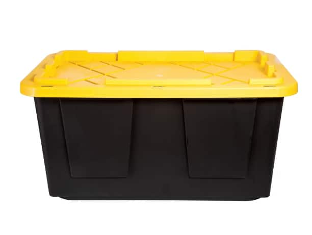 27-Gallon Greenmade Storage Tote (Black w/ Yellow Lid)
