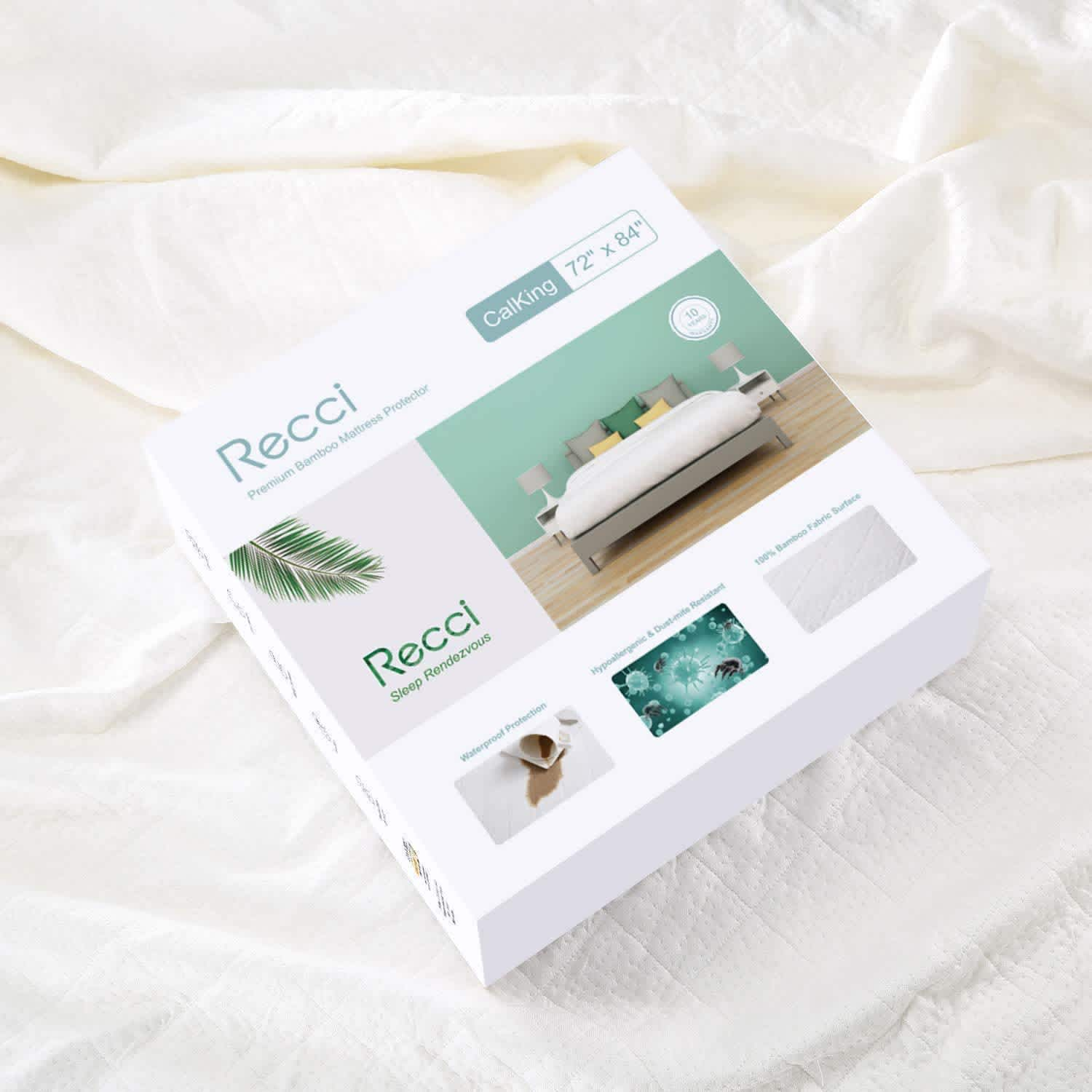 RECCI California King Premium Bamboo Mattress Protector