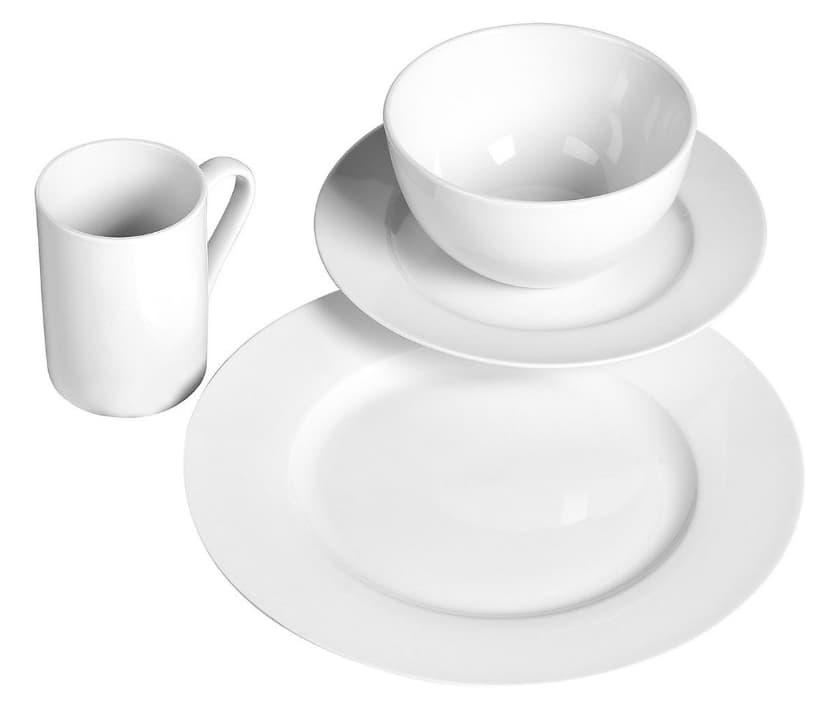 Tabletops Unlimited Soleil Round Rim Porcelain 16-Piece Dinnerware Set