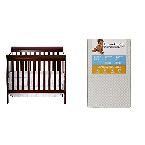 "Dream On Me Aden 4-in-1 Convertible Mini Crib with Dream On Me 3"" Portable Crib Mattress, White"