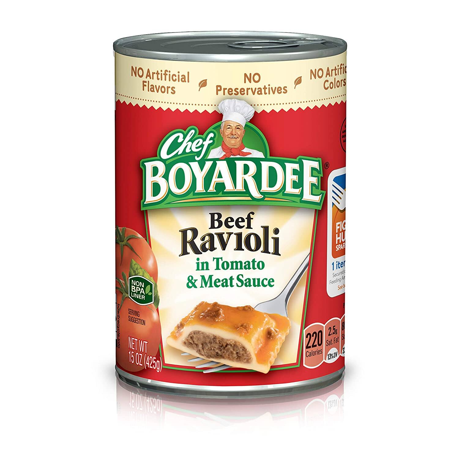 4-Pack 15oz. Chef Boyardee Beef Ravioli in Tomato/Meat Sauce