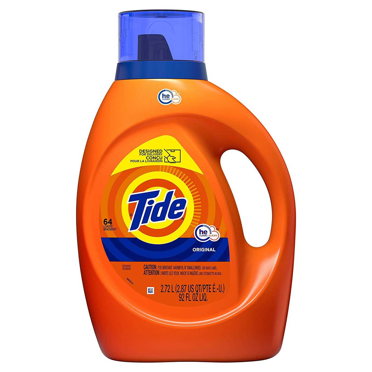 92oz Tide HE Liquid Laundry Detergent (64 Loads, Original Scent or Free & Gentle)