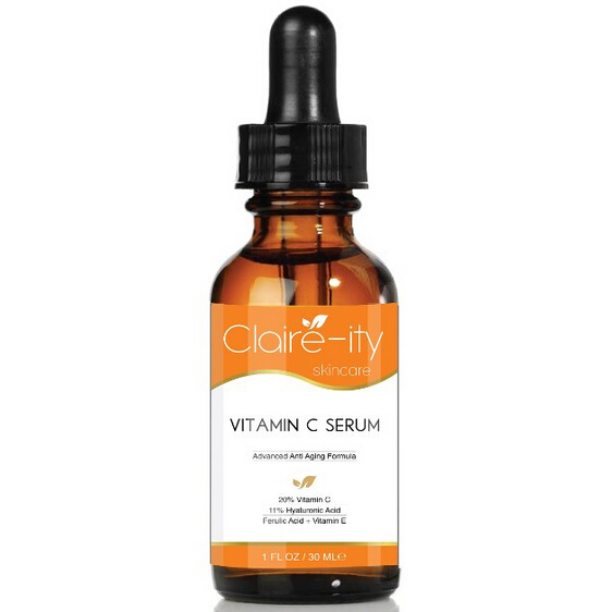 Claire-ity Skincare 25% Vitamin C Serum with Hyaluronic Acid and Vitamin E, Best Organic Anti-Aging Serum for Face (1 fl. oz)