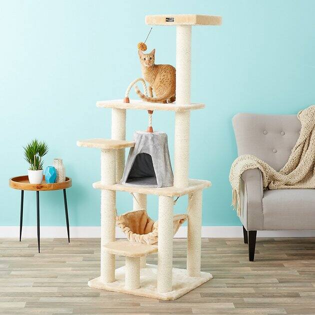 "65"" Aramark Faux Fur Cat Tree & Condo (Beige)"
