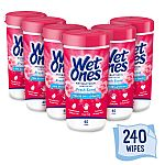 6-Pack Wet Ones Antibacterial Hand Wipes Canister, Fresh